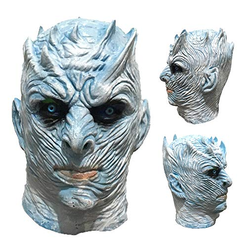 NWHEBET Halloween Night King Ghost Maske , Nacht-König Anonymous Maske Männer Creepy halloweenmaske Halloween Movie Party White Walker Maske Kostüm Cosplay