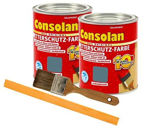 Consolan Wetterschutzfarbe deckend / 2x 0,75L schiefer 207 / Holzschutzfarbe Holzfarbe bis zu 10 Jahre wetterbeständig für Holz und Zink Außen inkl. Pinsel & Rührstab