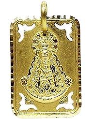 Colgante oro 18k medalla Virgen del Rocío cuadrada forma chapa. Largo con asas (mm.): 27. Ancho (mm.): 16. Peso (gr.): 3,6