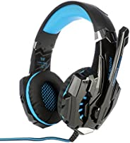 KOTION EACH G9000 3.5mm Gaming Headphone Game Headset Noise Cancellation Earphone with Mic LED Light Black-blu