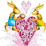 Lote de servilletas de papel, diseño de conejos enamorados