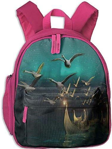 Kids Boys&Girls School Backpack   Pocket Fantasy Medieval Elf Boats and Magical Birds Swans Flying Mystical Adventure Illustration Full Teal Gold B07H28ZMJC | Sale Online