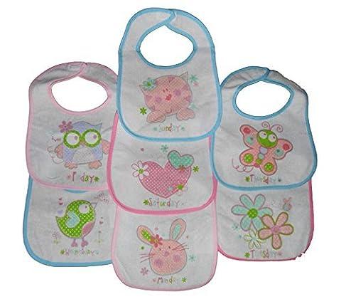 7 Tage ot die woche Baby lätzchen mit Klett Verschluss Gestützt Mit Kunststoff 3 Entwürfe 0-6 - Tage der woche Mädchen, 0-6 Monate