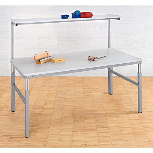 RAU Arbeitsplatz-System, höhenverstellbar von 650 – 1000 mm - Grundtisch mit Etagenbord - BxT 1800 x 700 mm - Arbeitsplatz Arbeitsplatzsystem Arbeitstisch Mehrzwecktisch System Systeme Werktisch