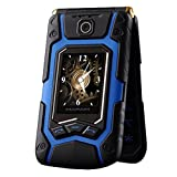 Y56 Dual Screen de Dual SIM de One de Key de respuesta de llamada Long de inactivo de pantalla táctil resistente Senior de teléfono móvil GSM Cámara MP3/MP4–Teléfono Móvil con Tapa, color azul