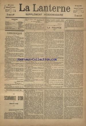 LANTERNE (LA) [No 112] du 22/08/1886 - LA POUPEE PAR CATULLE MENDES - COMMENT JE ME SUIS MARIE PAR HEROS - UN SOUVENIR PAR DE SAUVENIERE - LA TRANSMISSION DES FORCES PAR RAMEAU - LA PECHE A LA LIGNE PAR GASTECLOUX - LA SANTE PUBLIQUE PAR MARC - FEUILLETON / LE SCARABEE D'OR PAR EDGARD POE
