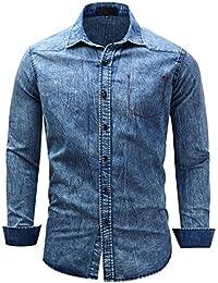 WSLCN Homme Denim Chemise Jean Délavé 100% Coton Vintage Chemise Manches Longues Bleu Noir