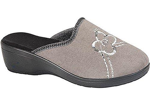 Femmes Hélène Confort Chaude Velours House Semelle Compensée À Enfiler Chaussons Mules Chaussure Taille 3-8