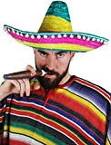 MENS MEXICAN MULTI-COLOURED SOMBRERO WITH POM POM EDGES FANCY DRESS ACCESSORY HAT STRAW HOLIDAY STAG NIGHT CLUBBING BANDIT