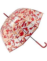 GOTTA Paraguas Transparente Largo de Mujer con Forma de cúpula. Antiviento y Manual. Estampado