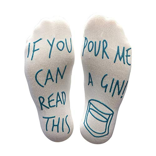 Funmazit Funny Socken, Unisex Pop Socken If You Can Read This Bring Me A Gin Baumwolle Neuheit Socken Perfektes Geschenk oder lustiges Geburtstagsgeschenk - Blau