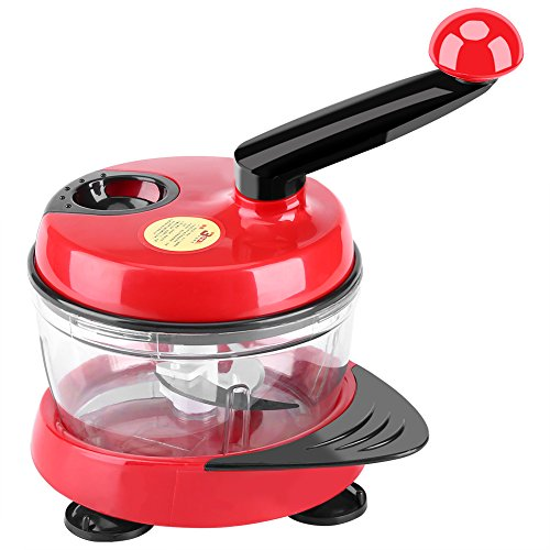 Fdit ABS and Steel Manual Food Chopper Hand Crank Mincer Mixer Blender Cutter with Clear Container to Chop Meat Fruits Vegetables Nuts (Red and Black)