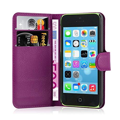 Apple iPhone 5C Hülle in PINK von Cadorabo - Handy-Hülle mit Karten-Fach und Standfunktion für iPhone 5C Case Cover Schutz-hülle Etui Tasche Book Klapp Style in CHERRY-PINK MANGAN-VIOLETT