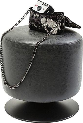Kare design - Pouf à l'aspect cuir noir Richi