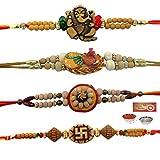 #5: RA-Rock Handicrafted Religious Raksha Bandhan Four Rakhi Gift Combo, Set of 4 Rakhi