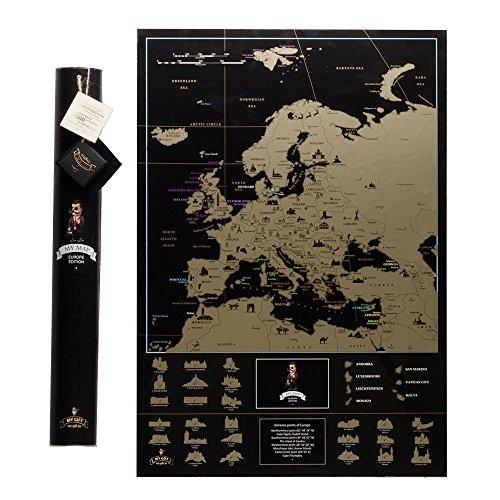 Deluxe oro Europa Scratch Off viajes Mapa 68 x 47 cm, acabado brillante + tubo de regalo embalaje, muy detallada, único conjunto de herramientas con rascador, regalo perfecto para los viajeros