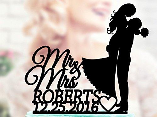 Promini Tortenaufsatz für Hochzeitstorte, Silhouette, Mr und Mrs, Hochzeitstortenaufsatz, 109 Acrylschwarz