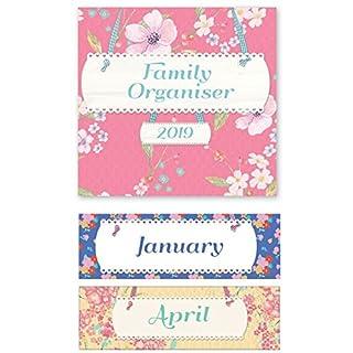 2019 Family Organiser Planner Wall Calendar Christmas Birthday Gift Square (Flowers)