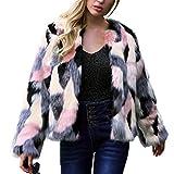 DreamyDesign Damen Kurz Mantel Faux Für Lose Langarm Outwear Winterjacke Mode Kurz Coat Cardigan Trenchcoat in Felloptik Rundhals Jacke