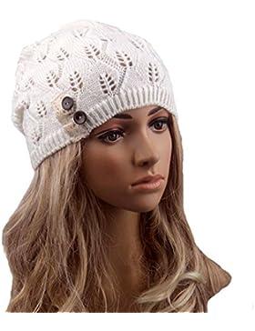 Sombrero Mujer Invierno,TININNA Mujer Caliente Sombrero Gorra de Punto Turbante Cabeza Calentador Muchachas-Blanco