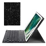 Fintie Bluetooth Tastatur Hülle für iPad 9.7 Zoll 2018 2017 / iPad Air 2 / iPad Air - Ultradünn leicht Ständer Keyboard Case mit magnetisch Abnehmbarer Drahtloser Deutscher Tastatur, Sternbild