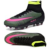 Kids Football Boots Unisex High Top Soccer Shoes Boys Professional Spike Training Shoes Outdoor Sneakers Teenagers Sports Boots Black 7.5 UK