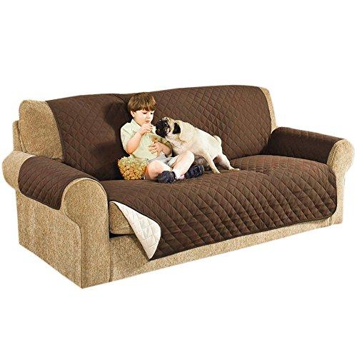 3 Sitzer Sofaschoner Sesselschoner Sofaüberwurf Sofa Schonbezug Sofadecke (3 Sitzer, Hellbraun)