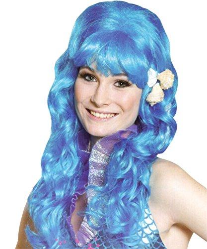eerjungfrau Perücke Undine Perücke Blau mit Muscheln Damen-Perücke (Meerjungfrau Halloween Kostüm Für Baby)