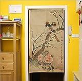 Nordic Modern Minimalist Partition Door Curtain, Cotton Linen Tuch Chinese Style Bird Half Curtain Küche Schlafzimmer Bad Bad Zimmer Wohnbereich Wohnbereich Wohnbereich Dekorationsvorhang,002,85×90CM
