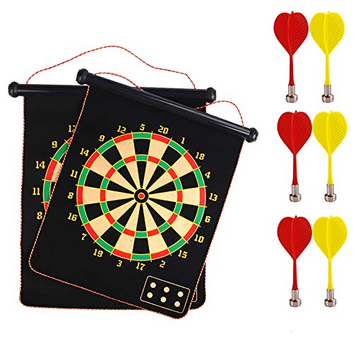 Magnetic Dart Board, Kids Dart Board Set 17 Inchese Double Sided Dartboard Hanging Safety Dartboard mit 18PCS Dart-Flights