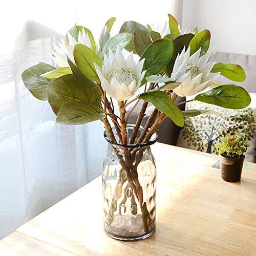 Gracorgzjs 1 Stück King Protea Kunstpflanze DIY Hochzeit Bouquet Party Decor Künstliche Blumen beige