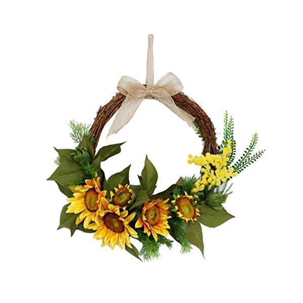 Guirnalda de Flores de Girasol Acacia Artificiales Corona de Rosas de Puerta Hecho A Manos Ornamento de Hogar