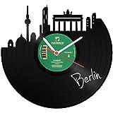 GRAVURZEILE Skyline Berlin Wanduhr aus Vinyl Schallplattenuhr Upcycling Design Uhr Vinyl-Uhr Wand Deko Vintage-Uhr Wand-Dekoration Retro-Uhr Made in Germany