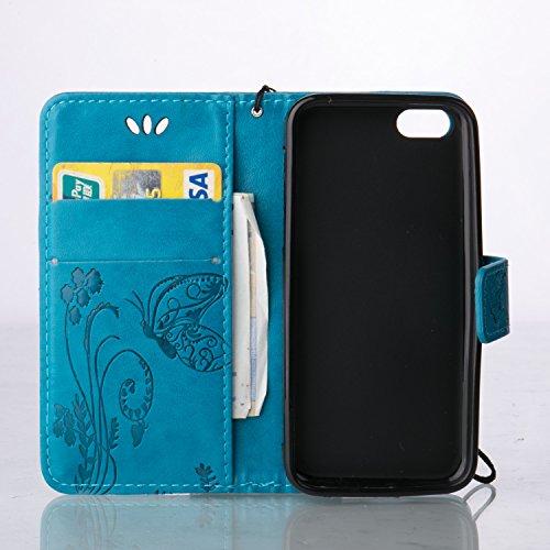 iPhone Case Cover Schmetterling Blumen prägeartig Fall PU-lederner Schlag-Standplatz-Fall-magnetischer Mappen-Kasten mit Handbügel-Karten-Schlitzen für iPhone 5C ( Color : Light Brown , Size : IPhone  Blue