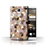 Stuff4® Hülle/Case für Huawei Ascend Mate7 / Geometrische Würfel Muster/Geometrisches Marmor-Muster Kollektion