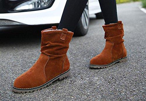 Wealsex Boots Courtes Daim Fourrées Intérieur Plate Vintage Bottines Martin Motard Style Britannique Grandes Tailles 34 40 41 42 43 Femmes Brun