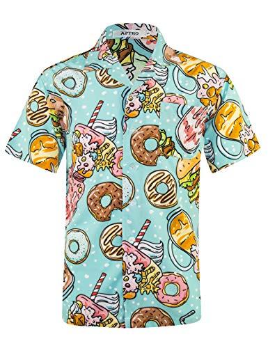 APTRO Herren Hemd Hawaiihemd Freizeit Hemd Kurzarm Urlaub Hemd Reise Shirt EIS Grün HW027 XXXL