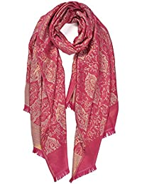 Ladies Paisley Gold Shimmer Print Large Scarf Wrap Shawl Soft Feel