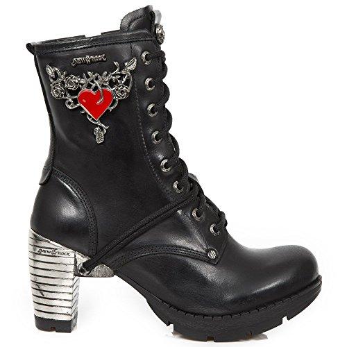 New Rock M.TR092-S1 Mujer Chica Botines Negro Cuero Tacón Cordones Cremallera Punk Heavy Rock Gótico Urban