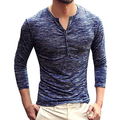 Preisvergleich Produktbild Oliviavan, Männer Herbst Casual Langarm Henry Kragen Button Slim T-Shirt Top Bluse Herren Slim Fit Kapuzen Pullover Sweatshirt Pullover Outwear Super Gemütlich Baumwolle Business Hemd