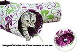 TAILMATE Katzentunnel mit 4 Röhren, Lila Blumen-Design, Faltbare, Raschelndes Material(Lila-4 Röhren) - 4