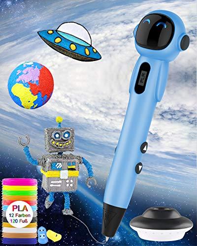 3D Stift,OLICTAR 3D Druck Stift Set,Druckstift mit LCD Display 12 Farben 1,75mm PLA Filament 120ft 3D Stifte für Kinder,Erwachsene,alle Jahre Anfänger