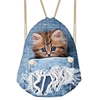 showudesigns Funny Denim gato perro cordón mochila niños adultos saco bolsa, Infantil, animal 7, medium