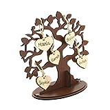 presents & more Familienbaum Ahnenbaum Stammbaum aus Holz mit individuellen Namen (mit 5 Namen)