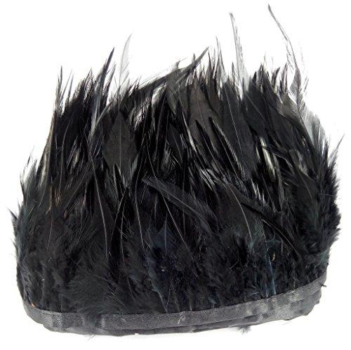Ergeob panax piume di gallo strisce di tessuto 2 metri lunghezza, ideale per carnevale, halloween, artigianato, handwerk, fai da te, abbigliamento, costumi nero