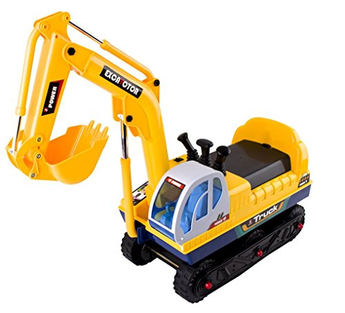 Image of deAO Childrens Ride on Electric Excavator Digger Truck Outdoor Toy Ride On Vehicle with Sounds and Rechargeable Batteries