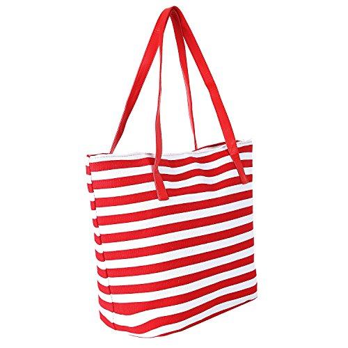 Dondon Borsa Da Spiaggia Rot - Weiß multicolore Bbag17
