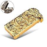 Elektronisches Feuerzeug Lichtbogen wiederaufladbar windgeschützt mit USB Ladekabel PADGENE® (Gold/Drache)