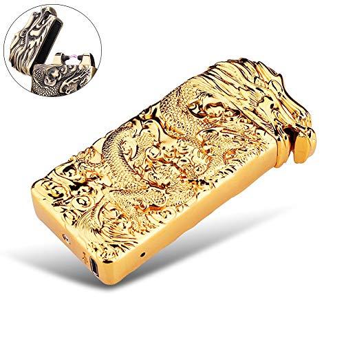 Elektronisches Feuerzeug Lichtbogen wiederaufladbar windgesch&uumltzt mit USB Ladekabel PADGENE&reg (Gold/Drache)