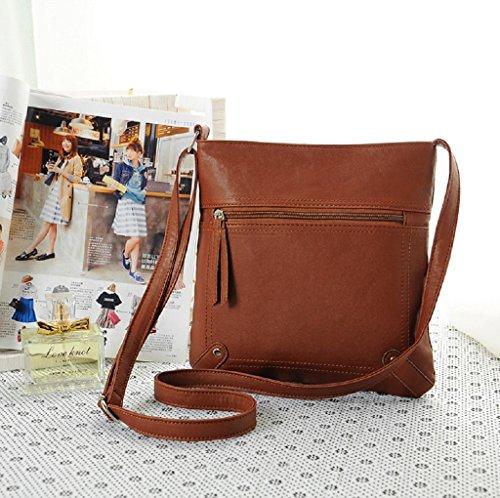 Borsa Familizo Elegant Leather Satchel delle donne di modo di Crossbody spalla borsa Messenger Bag Marrone scuro
